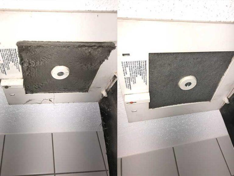 verschmutzter Filter einer Wohnraumlüftungsanlage - Wohnraumlüftungsreinigung von W & W Lüftungsservice