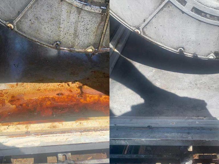 verschmutzte und saubere Anlage - Küchenreinigung gemäß VDI 6022 - W & W Lüftungsservice